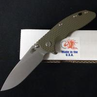 Rick Hinderer 3,5 XM-18 Folding Knife Skinny Slicer Battle Bronz Green G-10 CPM20CV