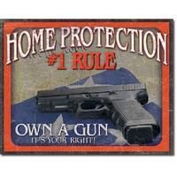 Tin Sign Home Protection 1 Rule - kovová tabule