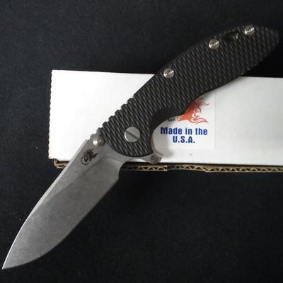 Rick Hinderer 3.5 XM-18 Folding Knife Skinny Slicer Stonewash Black G-10 CPM20CV