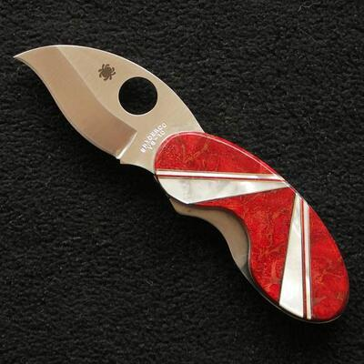 Spyderco Custom Cricket Red Coral & Mother of Pearl