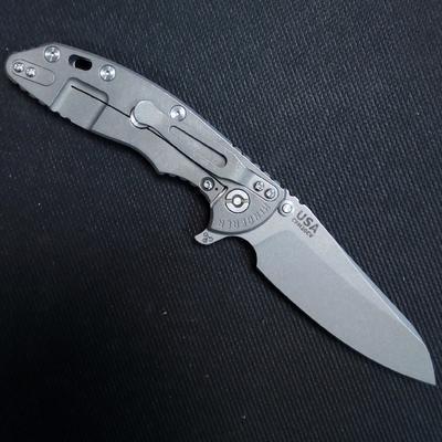 Rick Hinderer 3.5 XM-18 Skinny Sheepsfoot Tri-Way Working Finish Blue G10  - 2