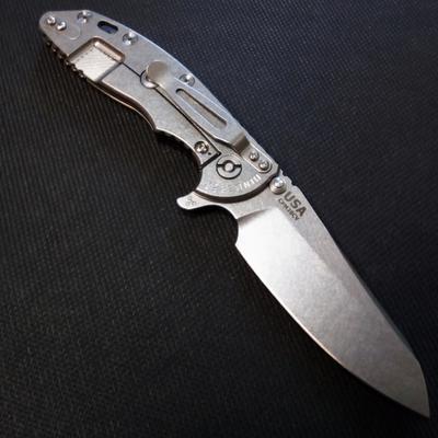 """Rick Hinderer Knives XM-18 3.5"""" Skinny Sheepsfoot Tri-Way Stonewash Black G10  - 2"""