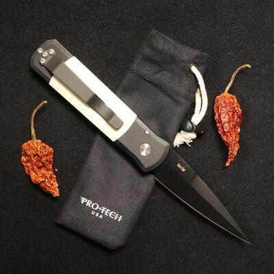 Pro-Tech GODSON Tuxedo Black Handle Ivory Micarta Black Blade - 2