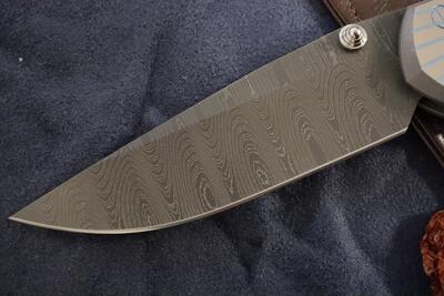 Chris Reeve Knives Large Sebenza 21 Unique Damascus Ladder Drop Point - 3