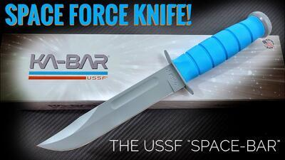 KA-BAR USSF Space-Bar Knife Blue Kraton Handle - 3