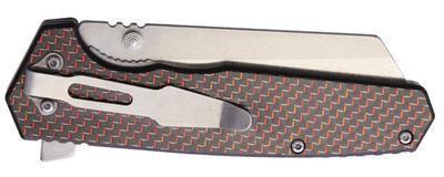 Komoran Linerlock Folding Knife Red Carbon Fiber - 3